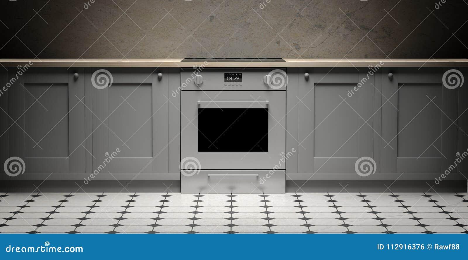 Armadi Da Cucina E Forno Eletric Sul Pavimento Delle ...