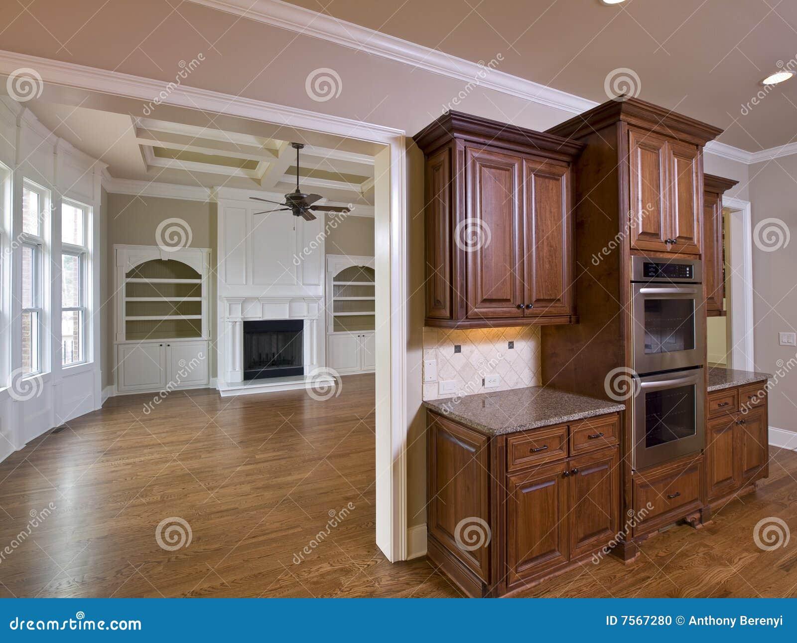 Armadi da cucina e salone interni domestici di lusso con il camino.