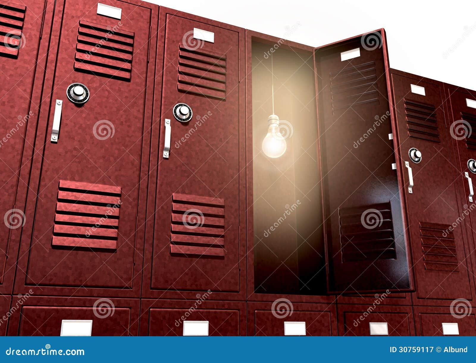 Armadi rossi della scuola con la lampadina dentro la prospettiva
