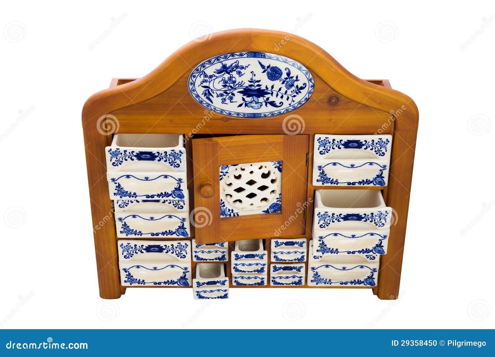 Armadietto di legno antico della cucina con i contenitori - Contenitori da cucina ...