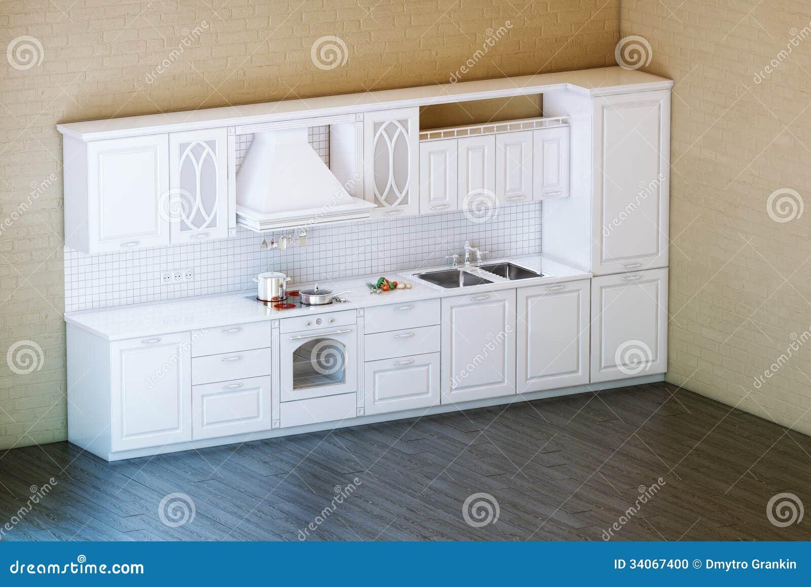 Stock: Armadio Da Cucina Bianco Classico Con Il Pavimento Di Parquet #876B44 1300 957 Pareti In Pietra Sala Da Pranzo