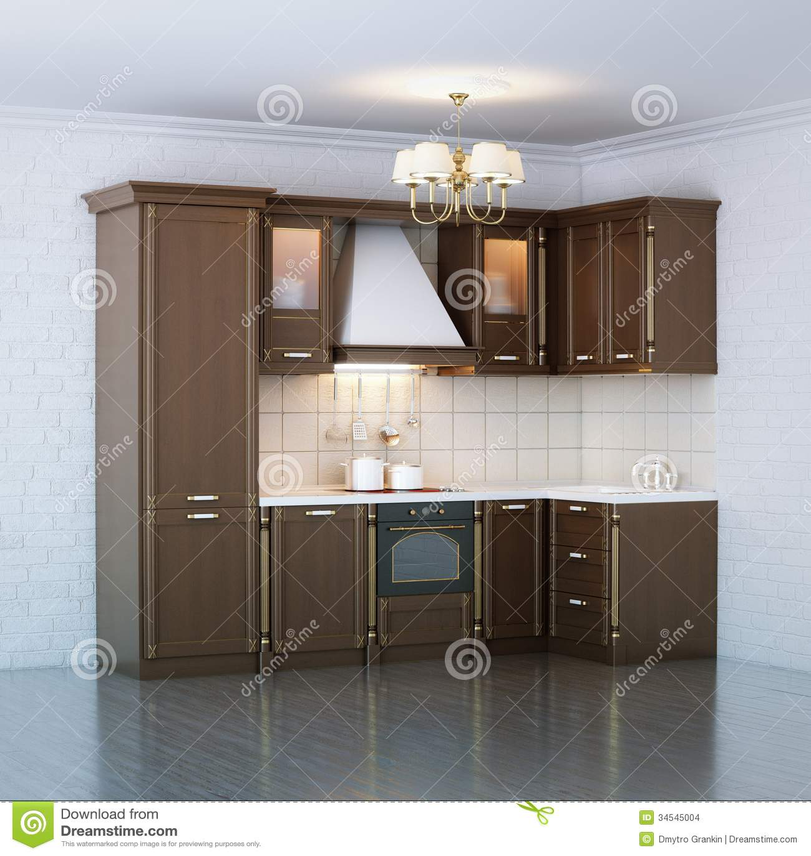 armadio da cucina di legno di lusso immagini stock - immagine ... - Cucina Di Design Armadio Di Lusso