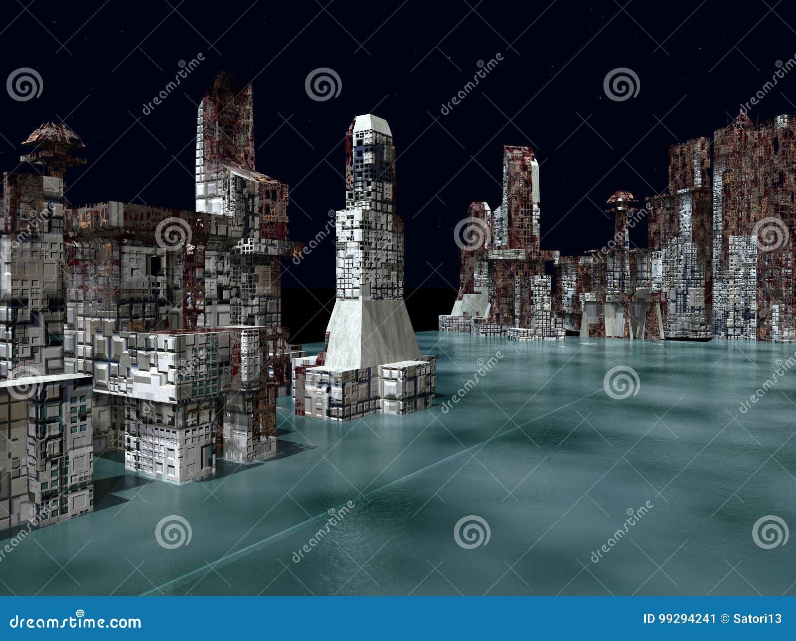 Armageddon dans le rendu de New York 3d