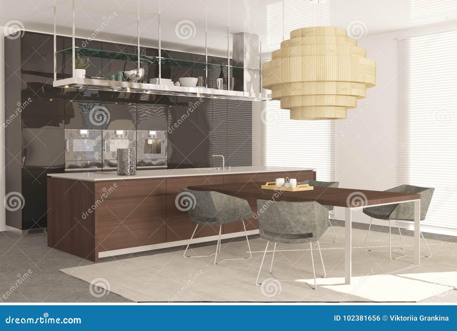 Armario De Cocina Moderno Con Comedor Stock de ilustración ...