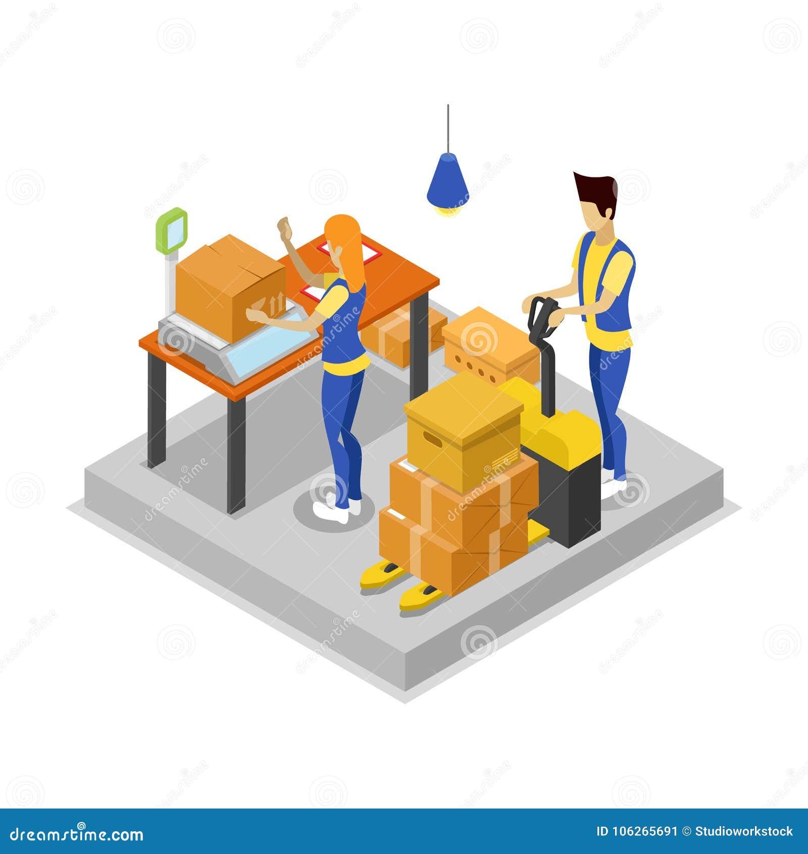 Armazém com ícone 3D isométrico dos trabalhadores