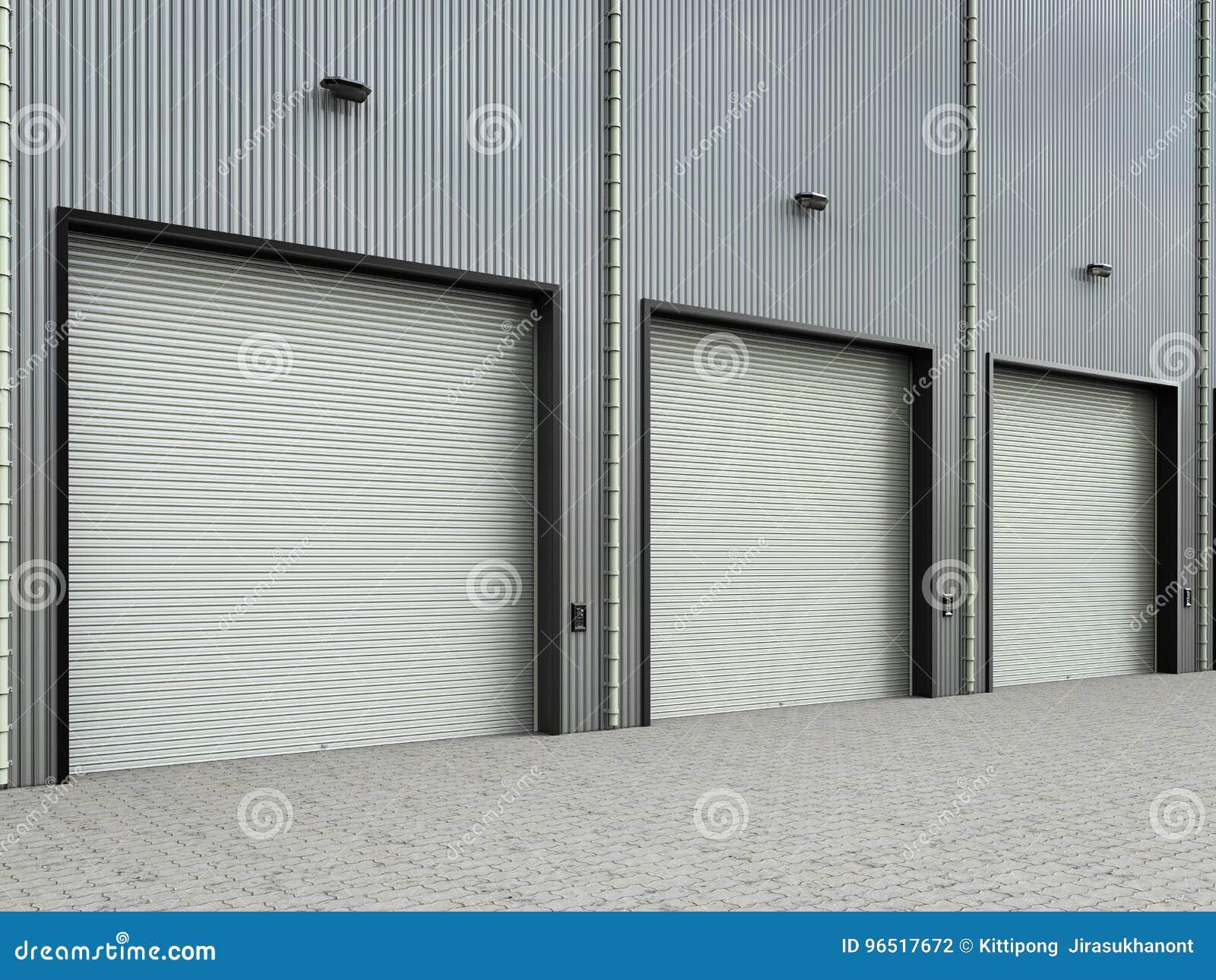 Armazém exterior com portas do obturador