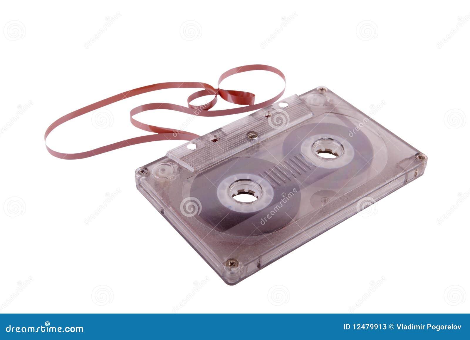 Armazenamento obsoleto da música. Gaveta audio e fita