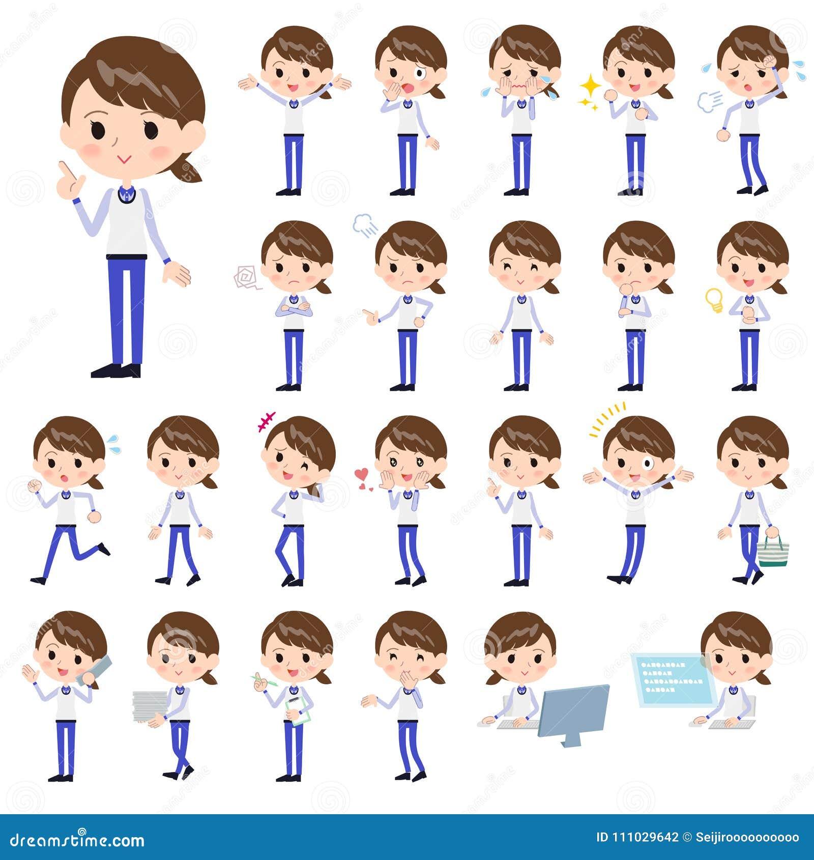 Armazene o uniforme azul women_1 do pessoal