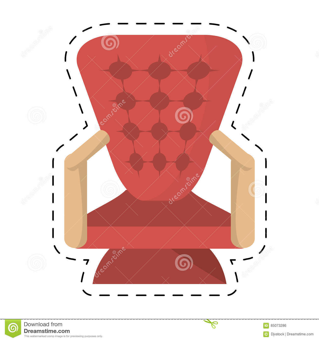 Armchair Cinema Red Seat Theater Cut Line Stock ...