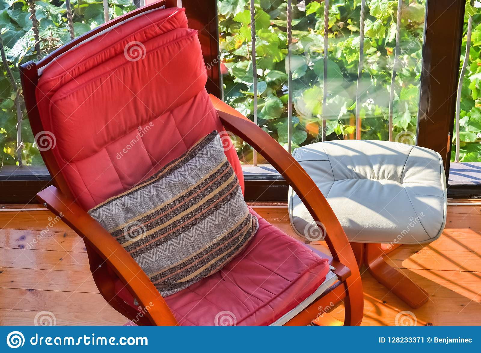 Pleasing Armchair And Footstool Stock Image Image Of Ambience Pabps2019 Chair Design Images Pabps2019Com