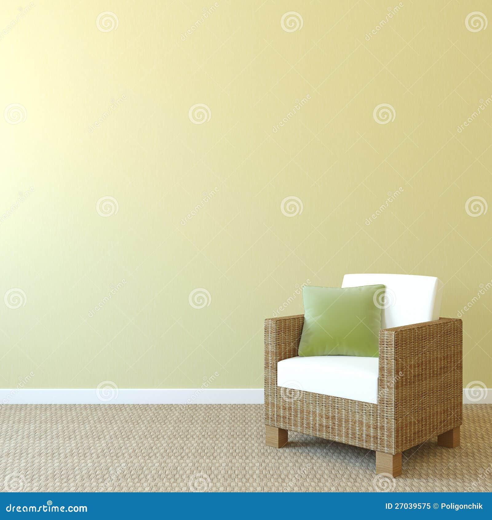 Armchair near empty wall. stock illustration. Illustration of home ...
