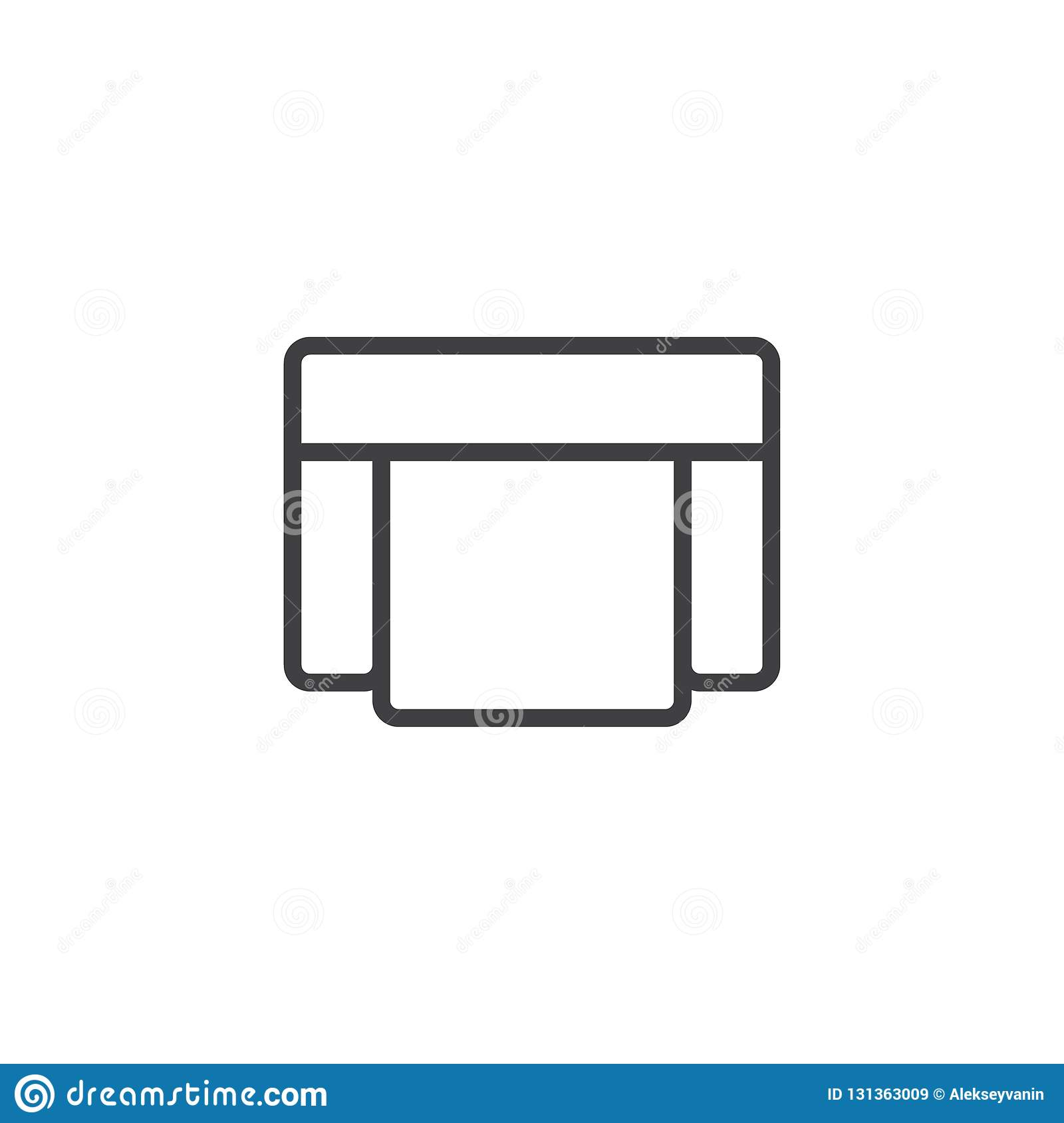 Armchair Seat Top View Outline Icon Stock Vector Illustration Of
