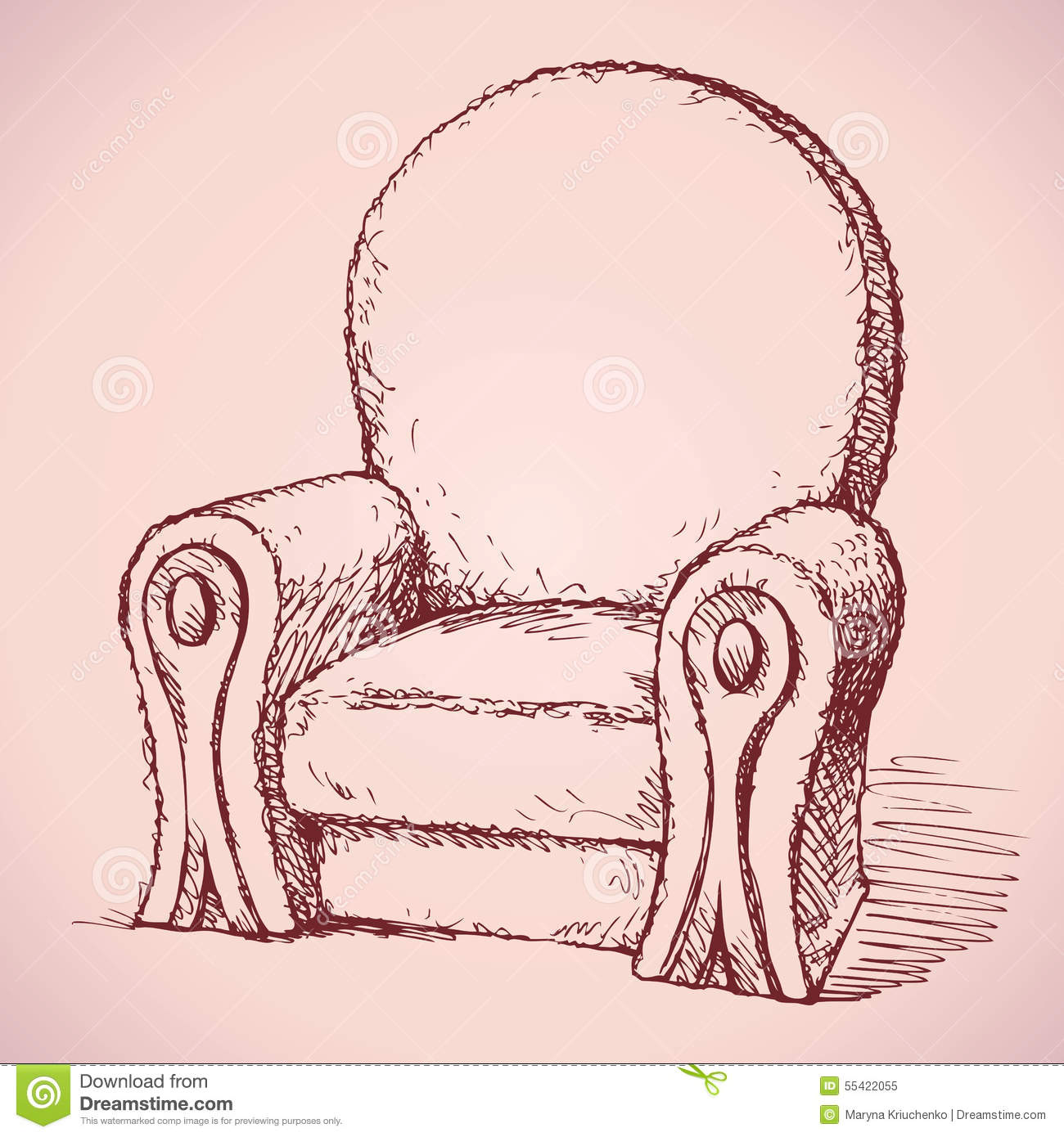 Armchair Vector Drawing Stock Vector Image 55422055