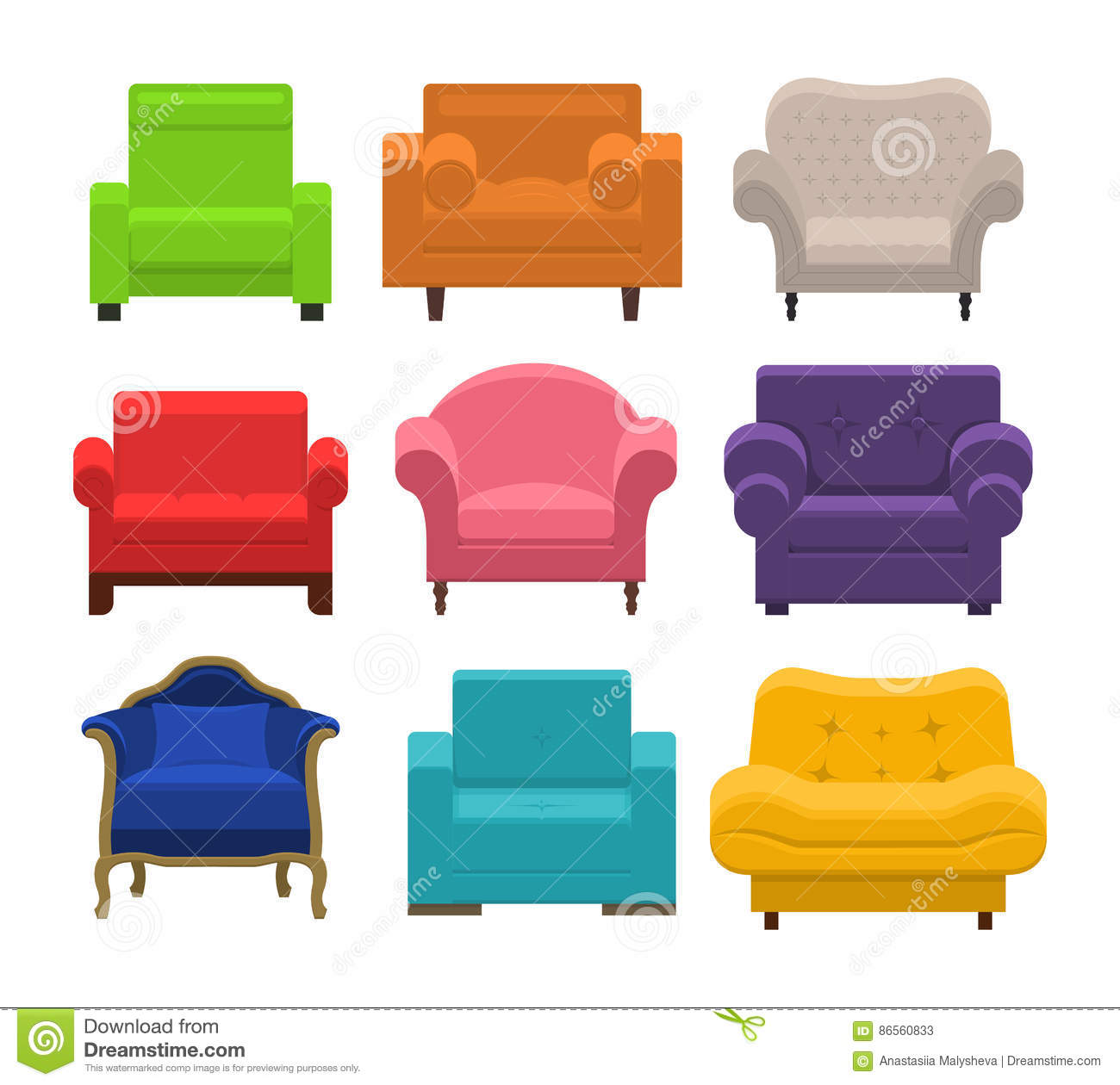 Attirant Collection Types Seating In Flat Style. Beautiful Design Elements    Classic, Retro Or Modern Furniture. Colorful Vintage And Comfort Chair.  Vector ...