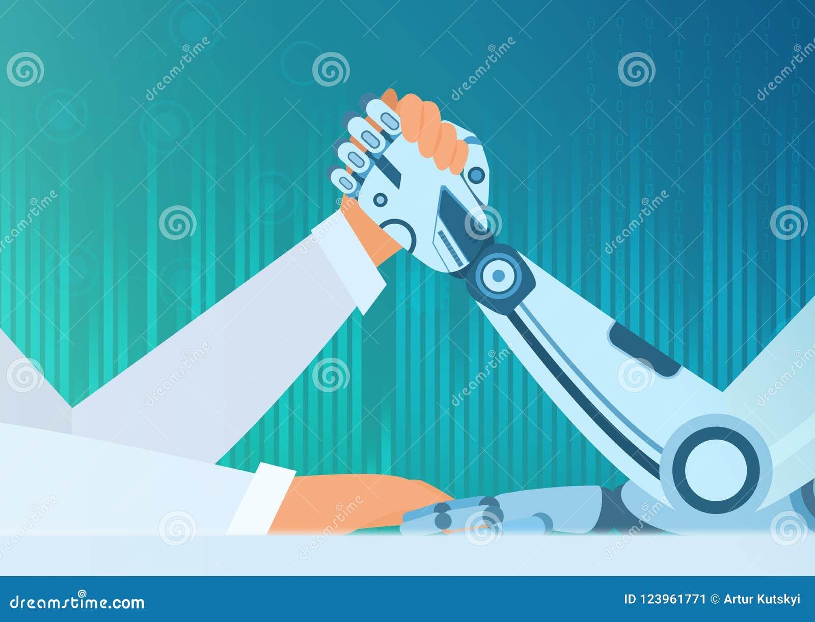 Armdrückenmensch mit einem Roboter Vektorkonzept der künstlichen Intelligenz Kampf des Mannes gegen Roboter