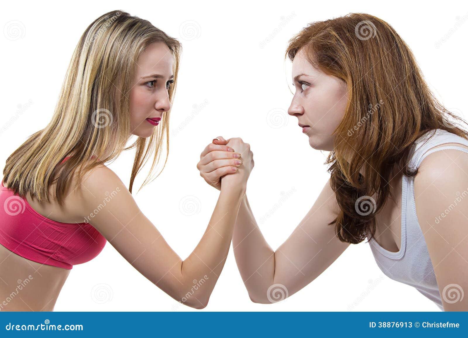 Erotisches Mädchen Mädchen gegen Wrestling