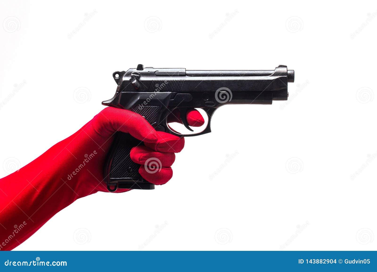 Arme à feu rouge de participation de main, d isolement sur le blanc