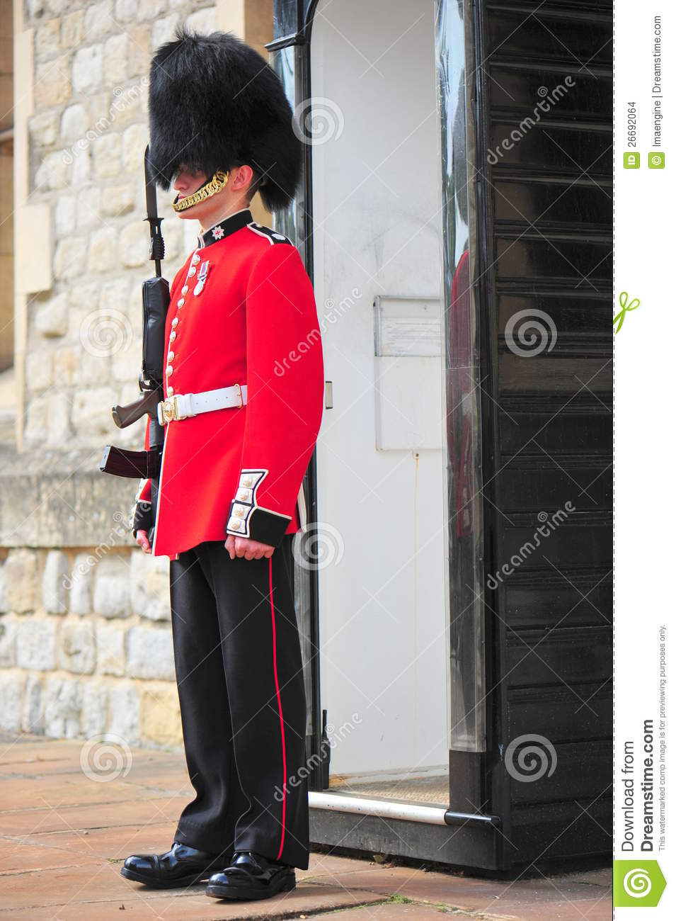 Armed Beefeater Standing Post Editorial Stock Image