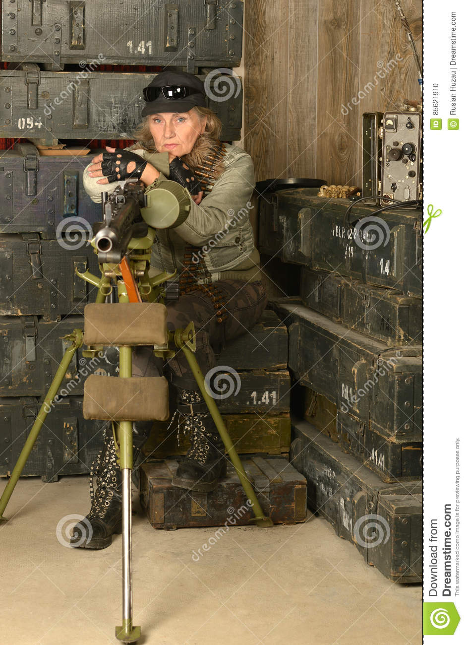 Armed combat soldier woman
