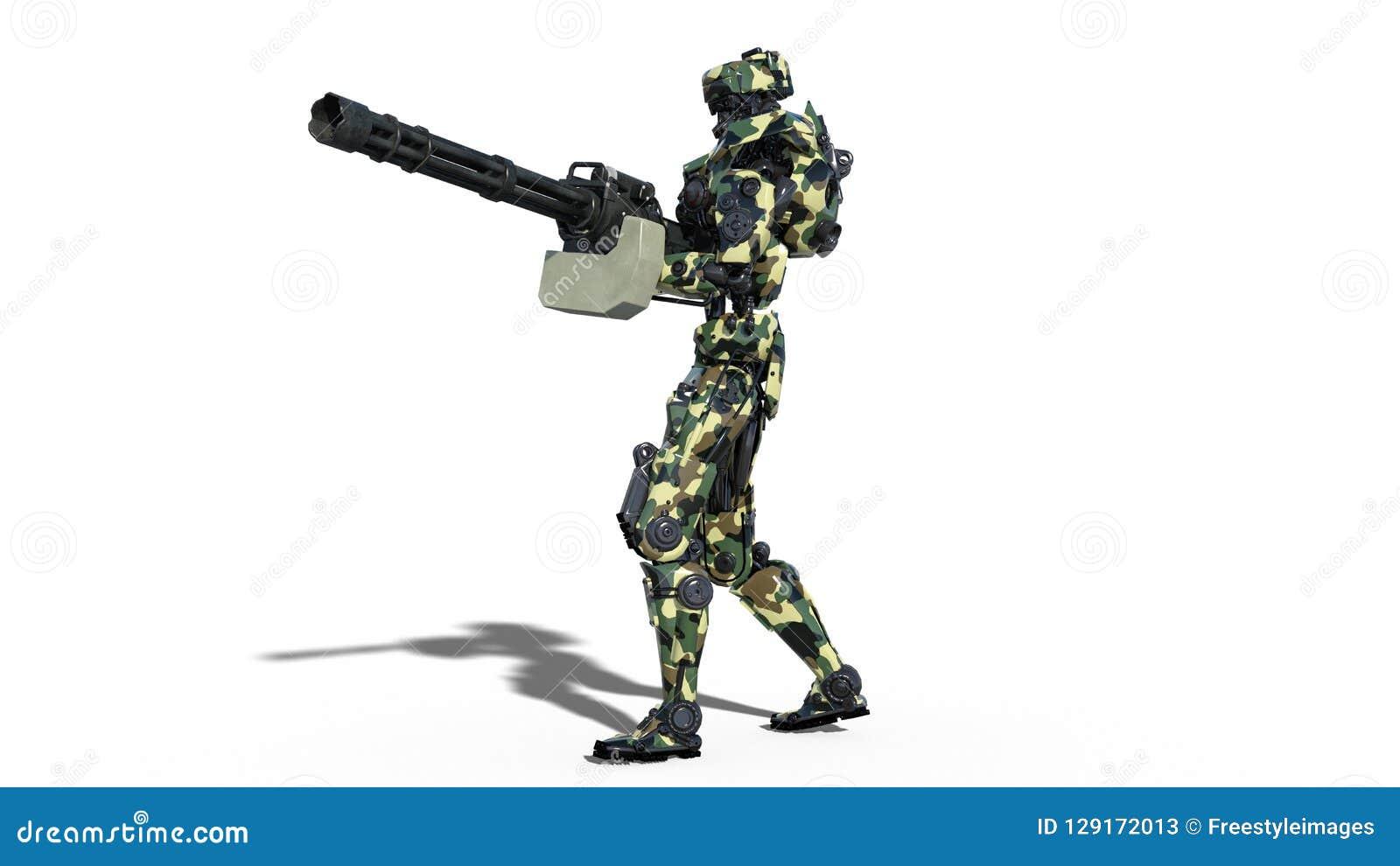Armeeroboter, Cyborg der bewaffneten Kräfte, das militärische androide Soldatschießenmaschinengewehr, das auf weißem Hintergrund