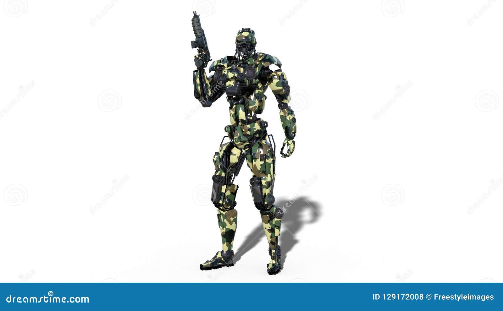 Armeeroboter, Cyborg der bewaffneten Kräfte, der militärische androide Soldat, der Gewehr lokalisiert auf weißem Hintergrund hält