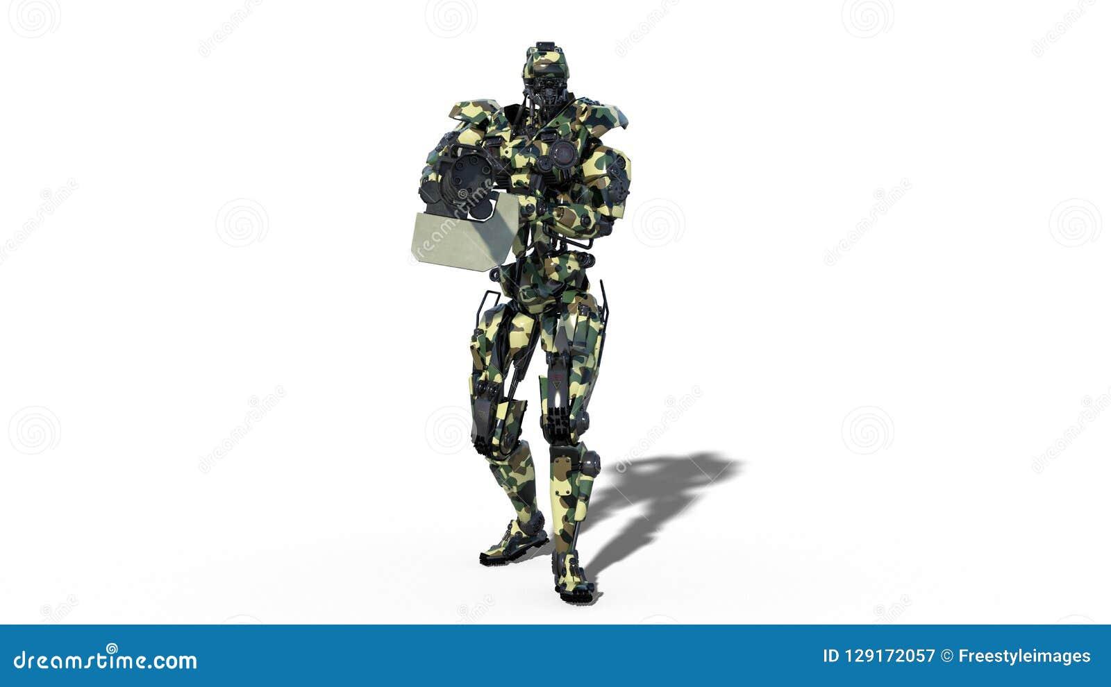 Armeeroboter, Cyborg der bewaffneten Kräfte, militärisches androides Soldatschießenmaschinengewehr auf weißem Hintergrund, Vorder