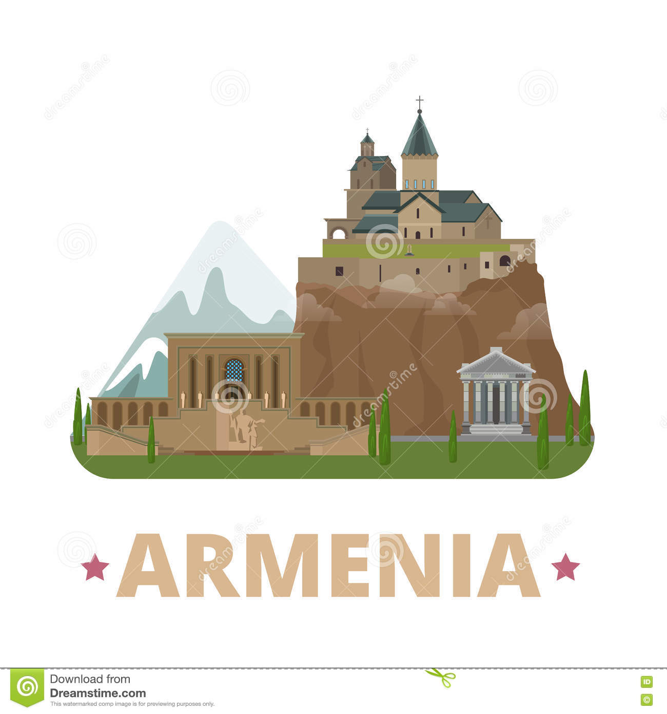 Armenia Country Design Template Flat Cartoon Style Stock ...