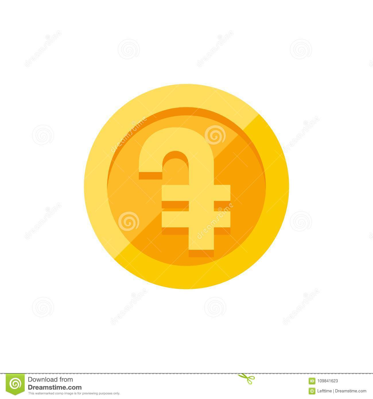 Armenian Dram Currency Symbol On Gold Coin Flat Style Stock Vector