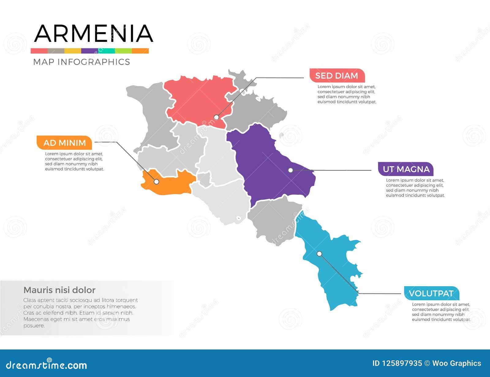 Armenien Karte.Armenien Karte Infographics Vektorschablone Mit Regionen Und