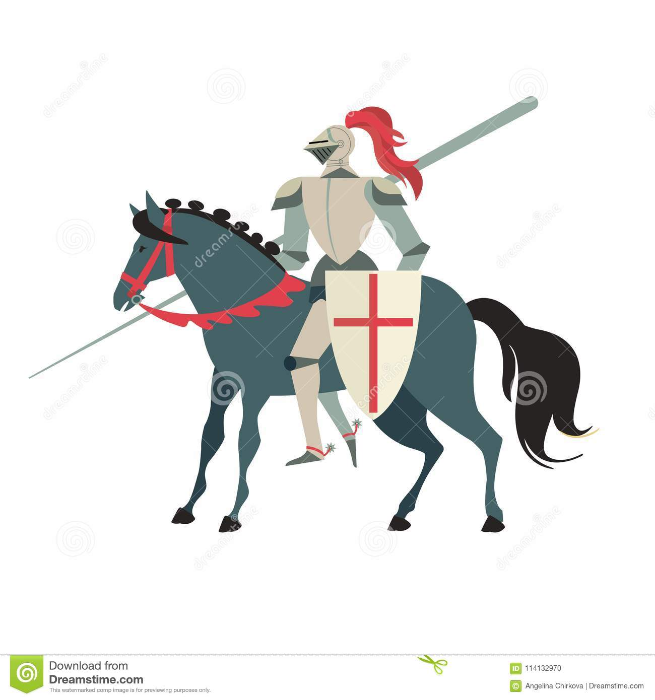Armoured Medieval Knight Riding On A Horse With Spear And Shield Flat Illustration Isolated On White Background Stock Vector Illustration Of Battle Carrying 114132970