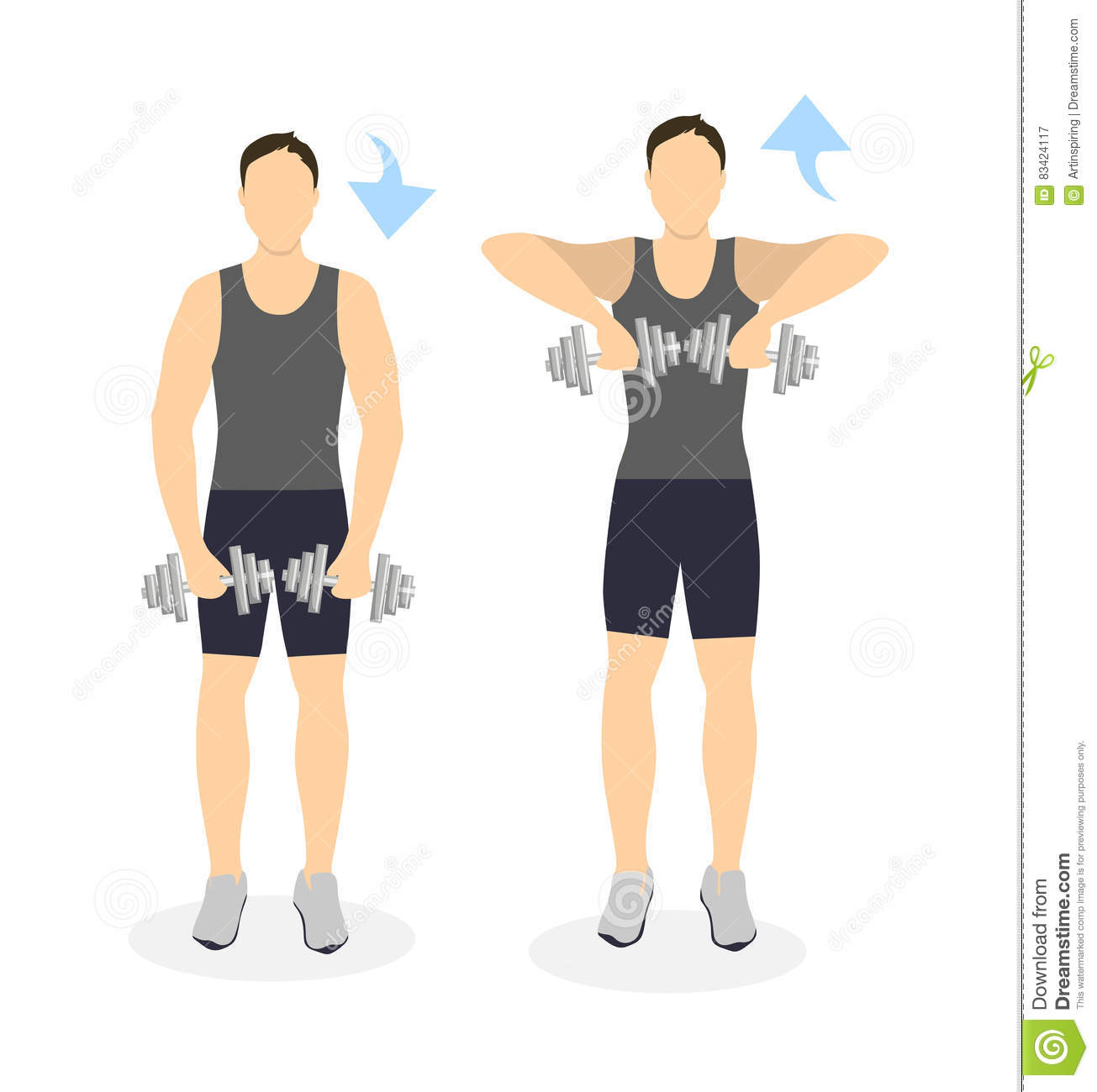 Arms exercise for men  stock vector  Illustration of muscle - 83424117