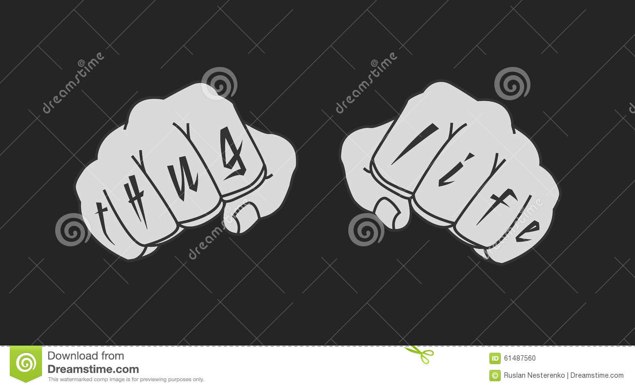4a5dfe211 Arms with Thug Life tattoo on fingers. Clenched fists chalk illustration  isolated on blackboard