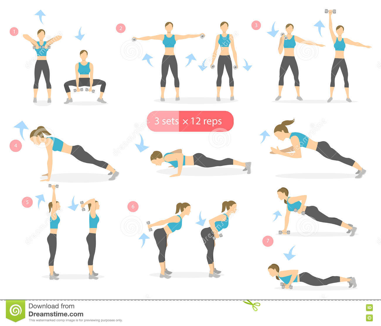 Arms workout set. stock vector. Image of sportsman, person ...