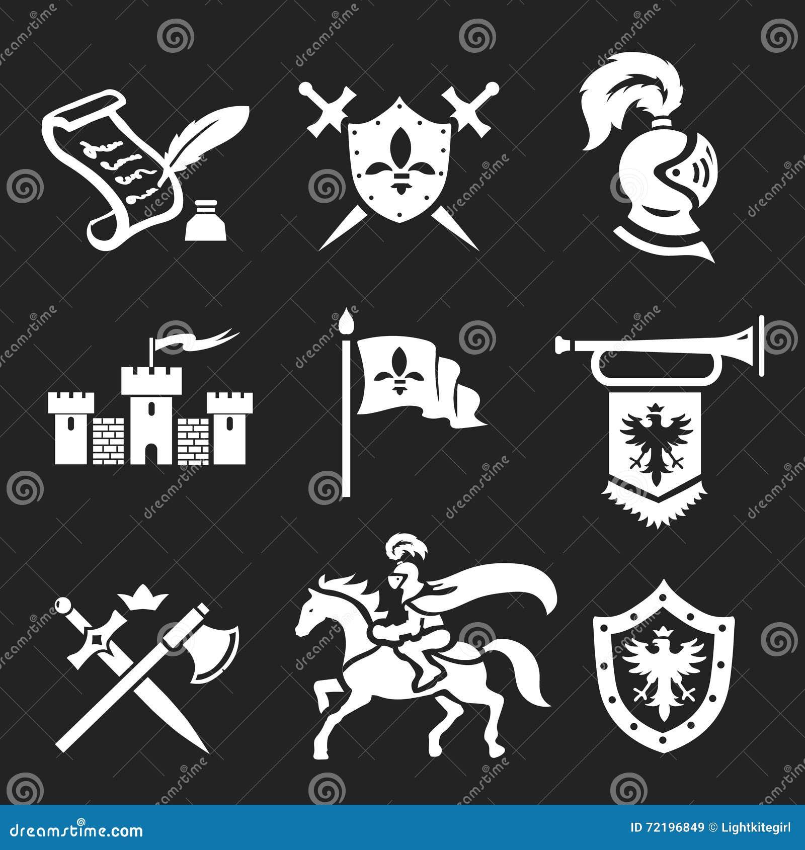 Armure de chevalier et ensemble médiévaux d icône d épées