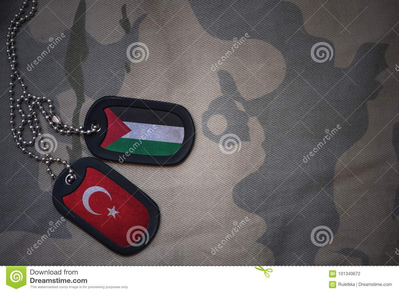 army blank, dog tag with flag of palestine and turkey on the khaki texture background.