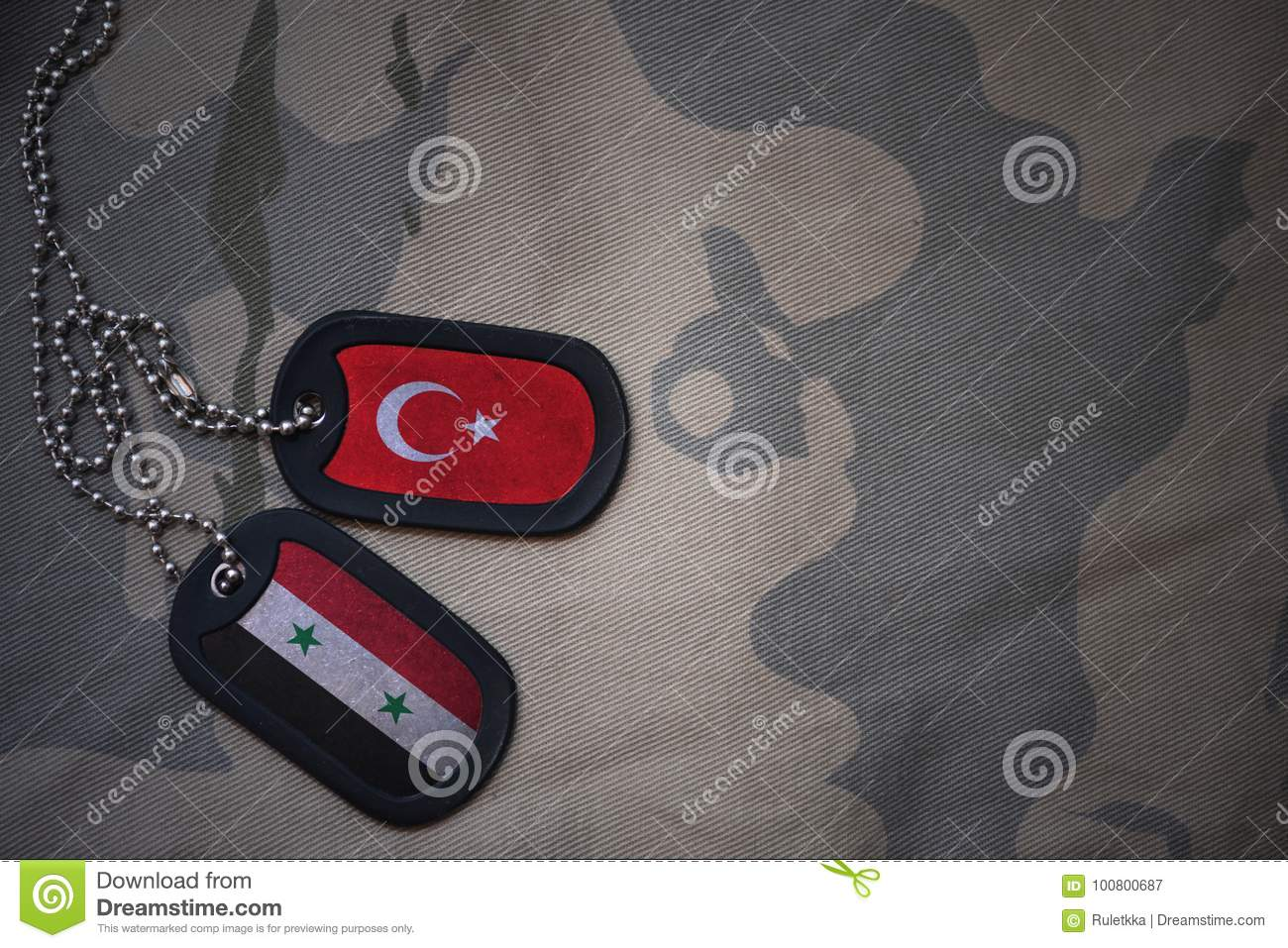 Army blank, dog tag with flag of syria and turkey on the khaki texture background.