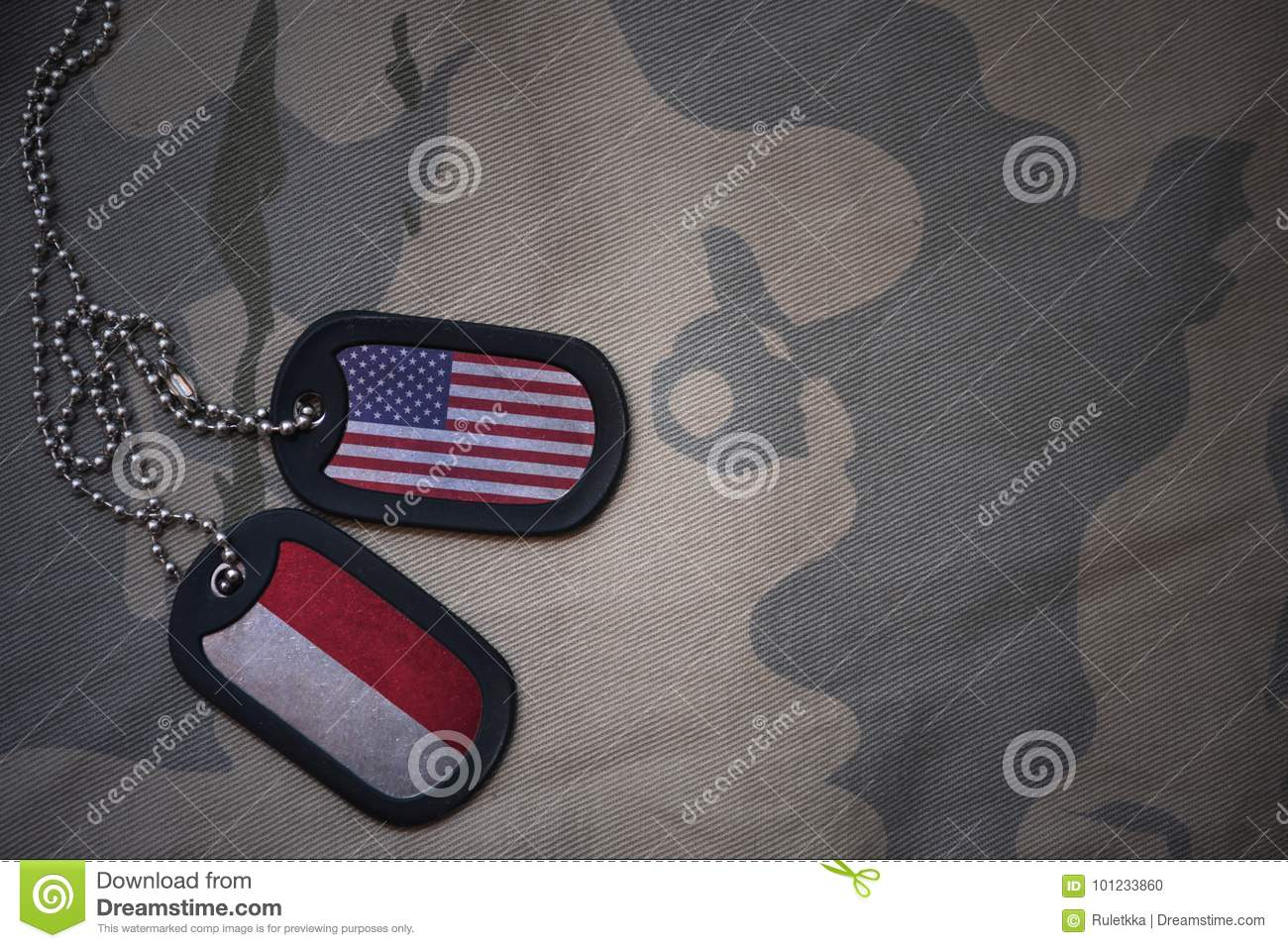 army blank, dog tag with flag of united states of america and indonesia on the khaki texture background.