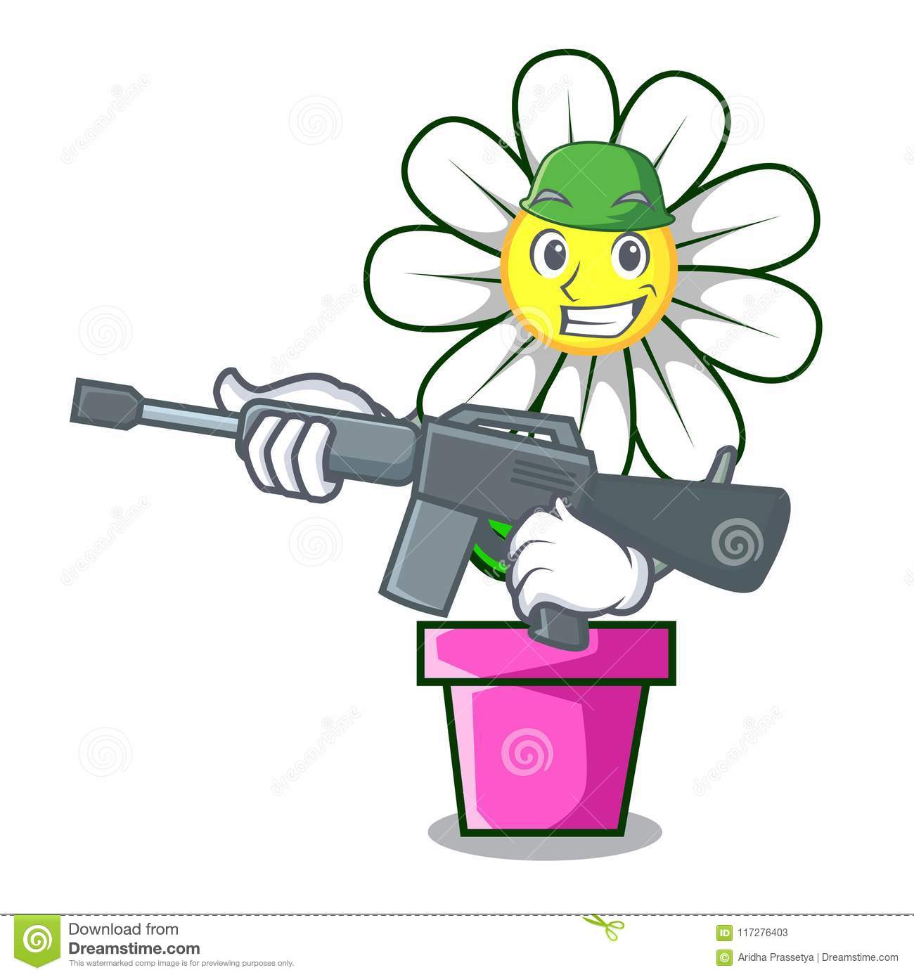 Army Daisy Flower Character Cartoon Stock Vector Illustration Of