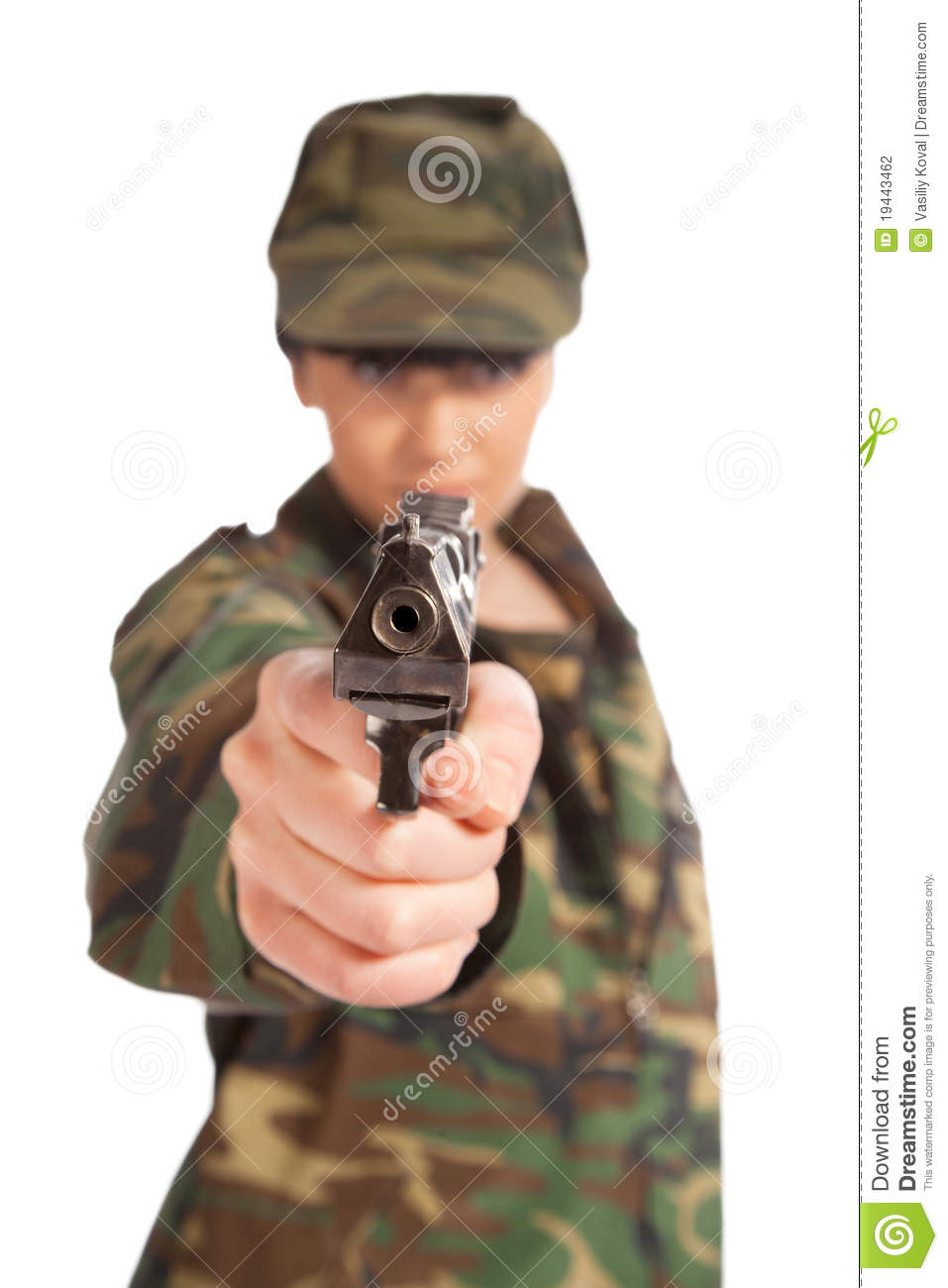 Military naked army girl holding a gun confirm
