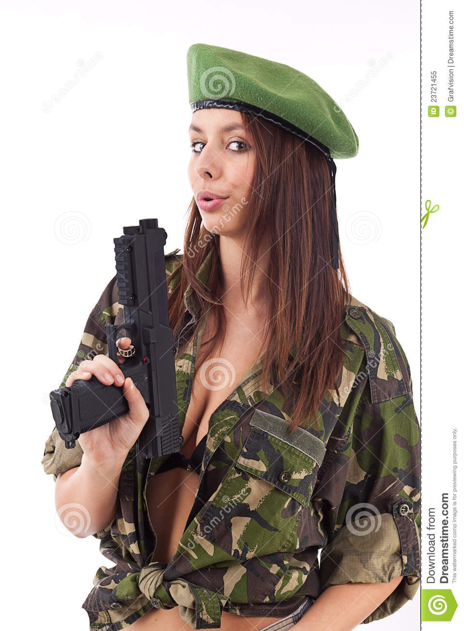 Military naked army girl holding a gun sorry