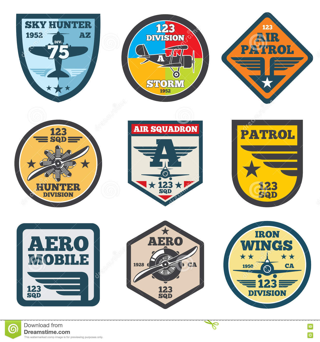 Army Jet, Aviation, Air Force Vector Labels, Patch Badges, Emblems ...