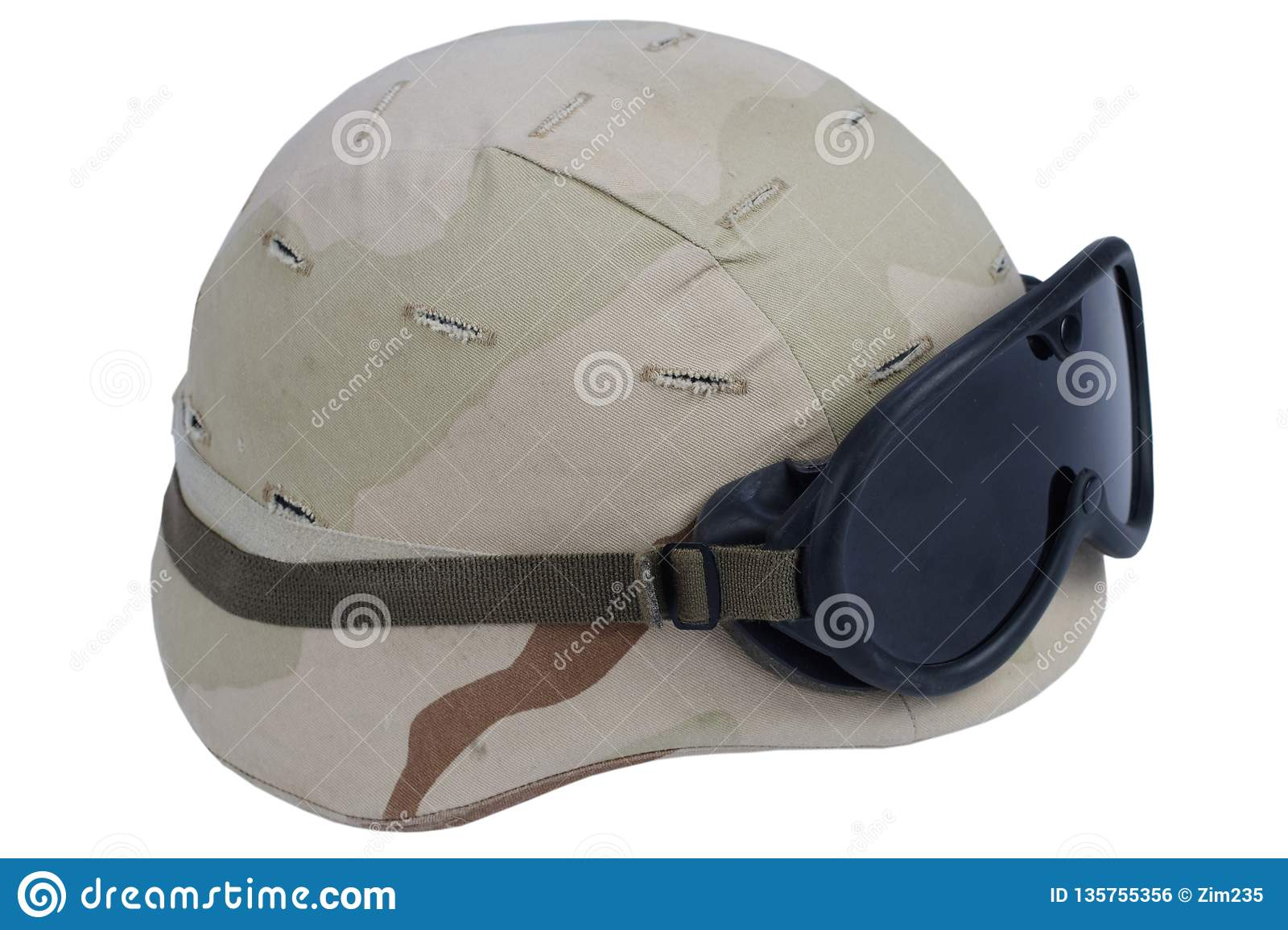 98779f1949e35c army kevlar helmet with goggles and camoflage cover isolated on white  background. More similar stock images