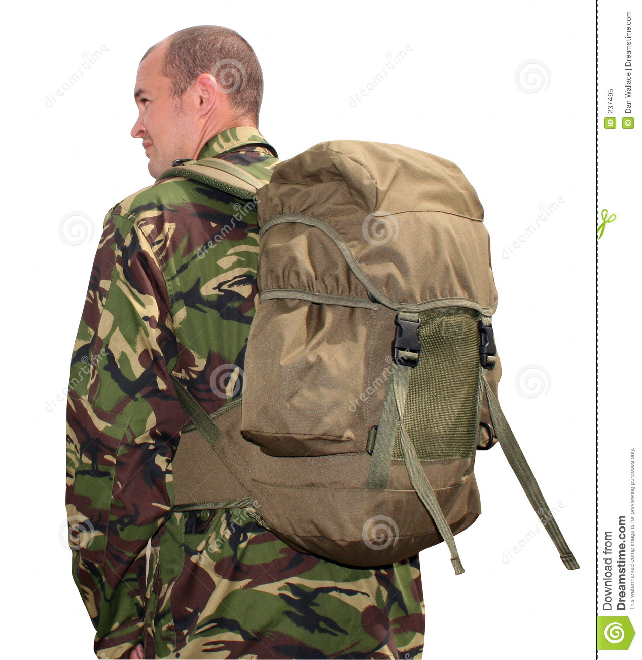 Army Man Wearing Rucksack Royalty Free Stock Photo Image