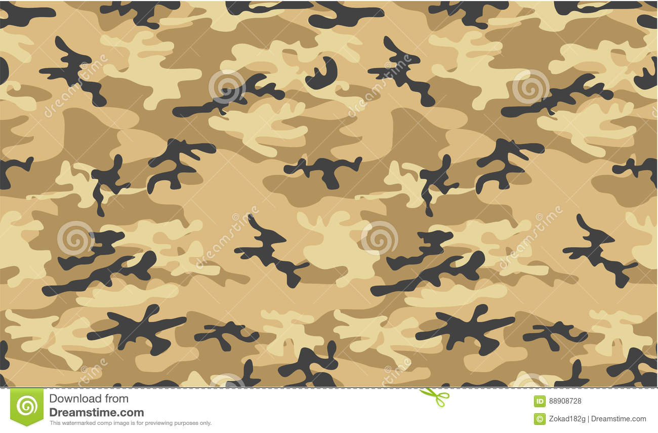 Army Or Military Desert Camouflage Seamless Vector Pattern ...
