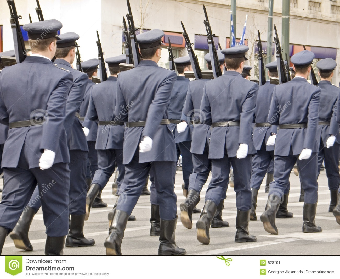 Army Officers Marching in Parade