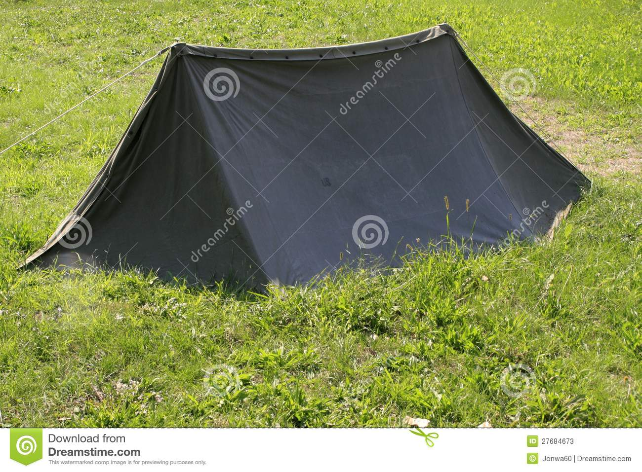 A US Army Surplus Puptent set up in green grass & Army Puptent stock image. Image of army summer camping - 27684673