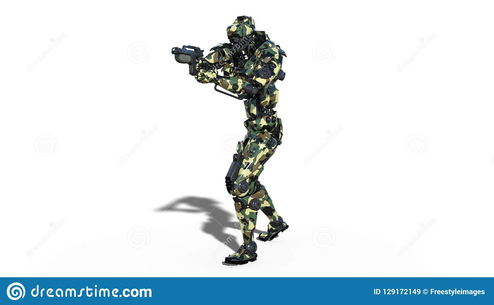 Army robot, armed forces cyborg, military android soldier shooting gun on white background, front view, 3D render