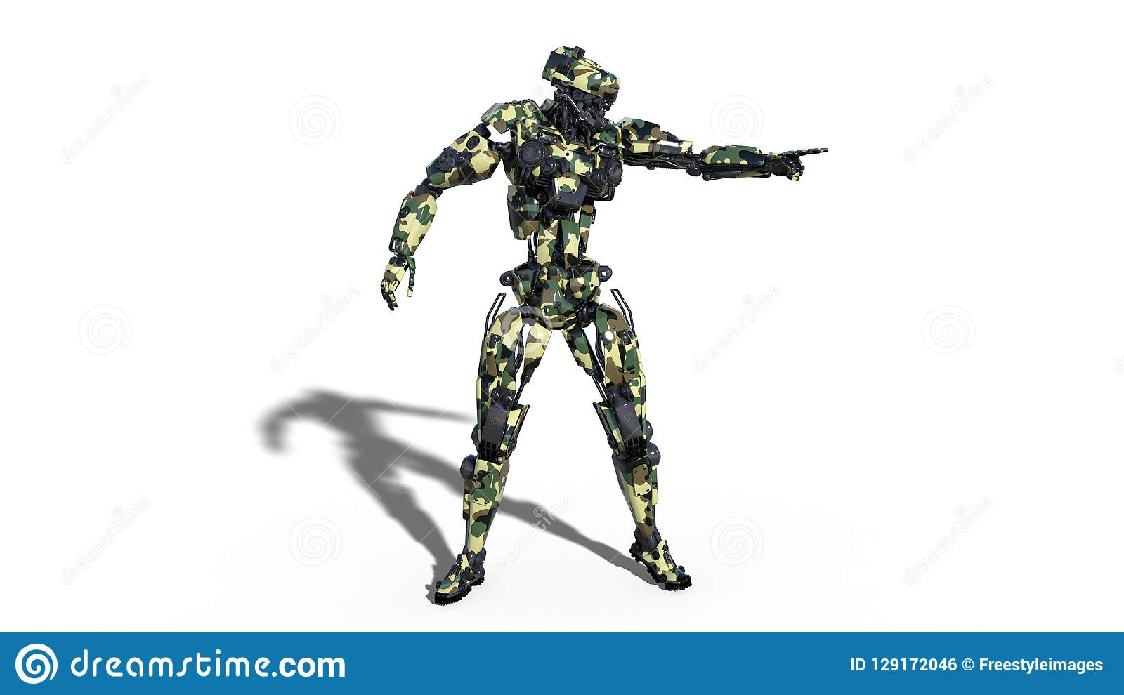 Army robot, armed forces cyborg pointing, military android soldier isolated on white background, 3D render
