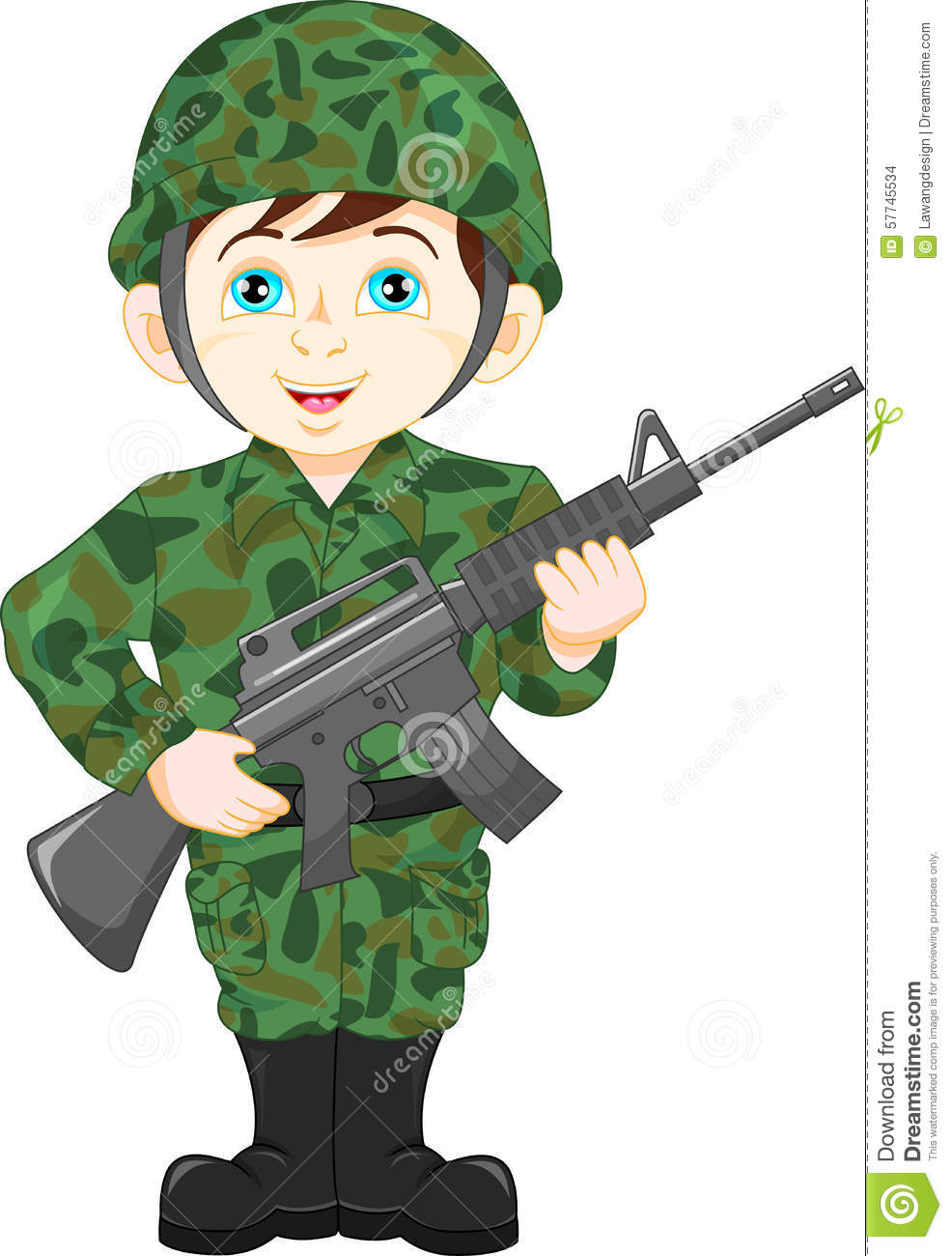 Army Soldier Boy Posing Stock Vector Image 57745534