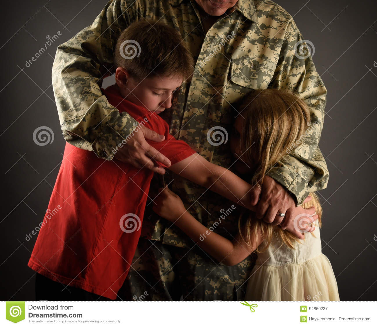 Army Soldier Father Hugging Family at Home